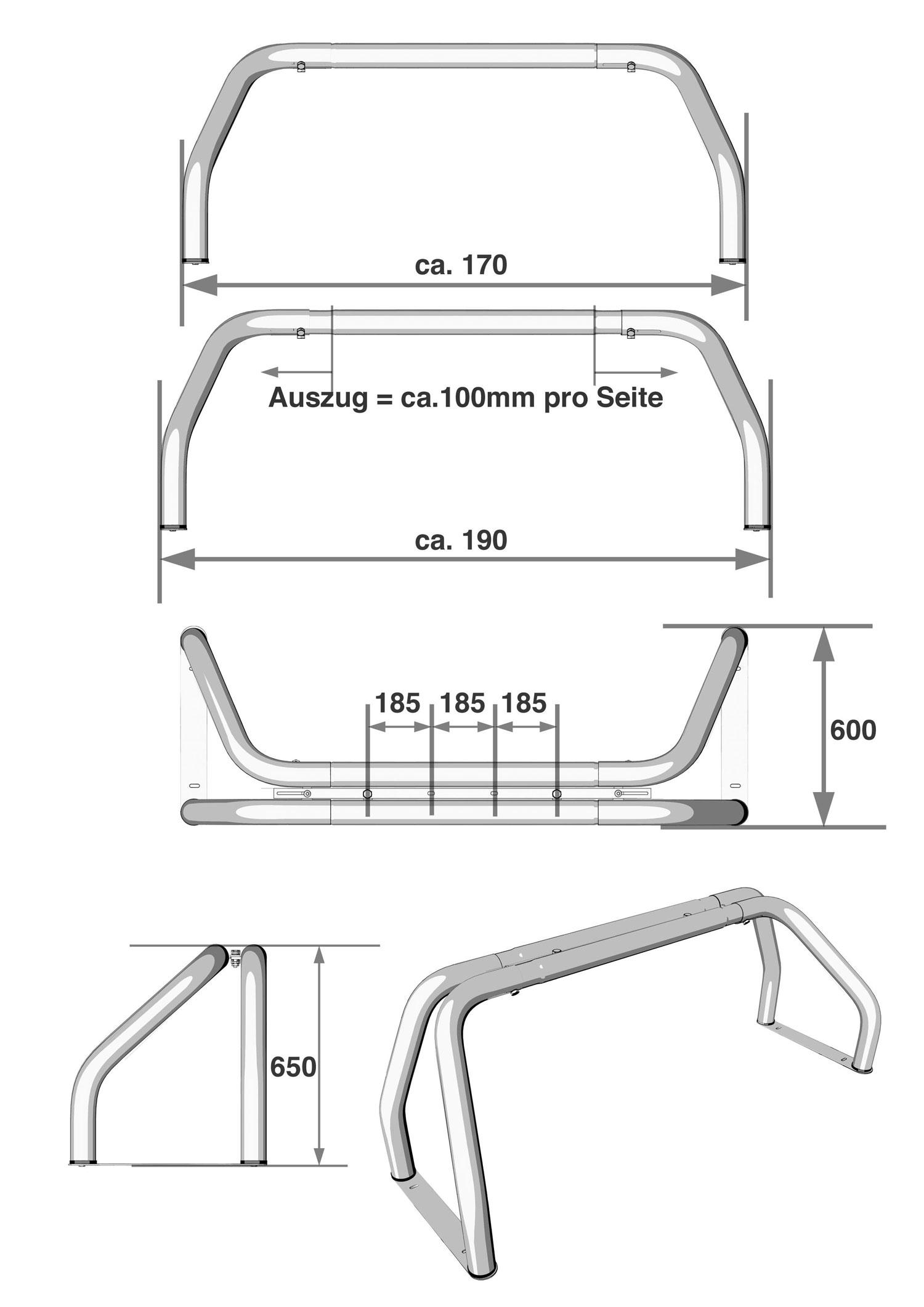 Berrollb gel 76mm 170 190cm dodge ram chevy pickup gmc - Edelstahlrohr durchmesser tabelle ...