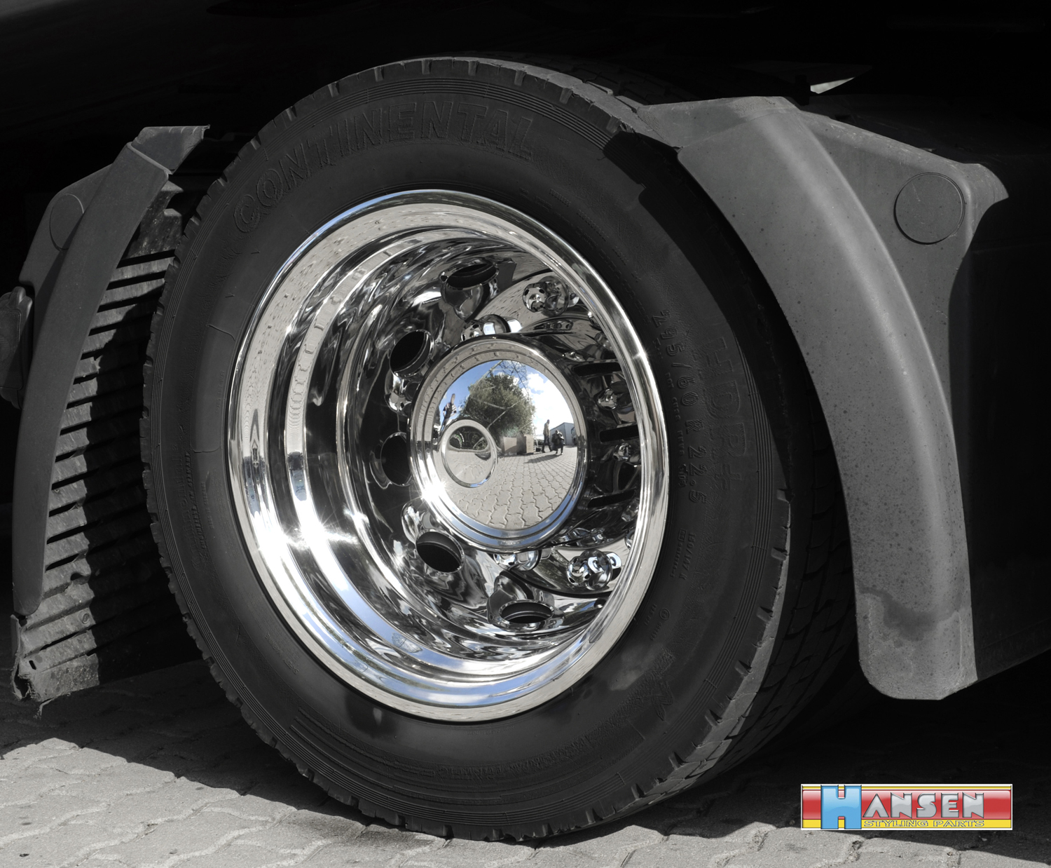 1x Set Truck Complete 2 Rims Stainless Steel Trim Lining 9x22 5 Rear