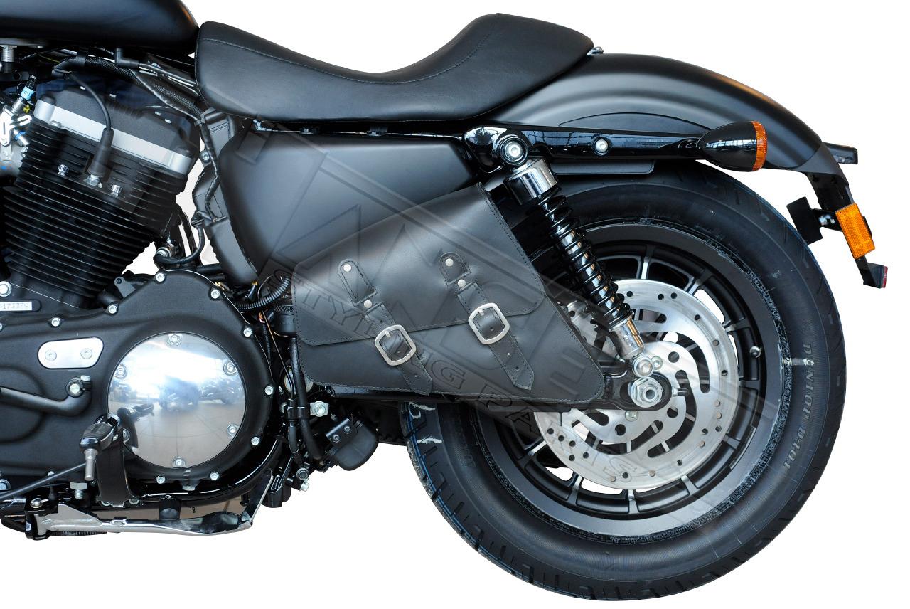 saddle bag black leather bag harley davidson sportster hd. Black Bedroom Furniture Sets. Home Design Ideas