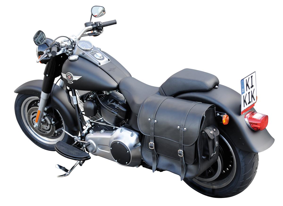 saddlebag harley davidson 36 liter black leather softail. Black Bedroom Furniture Sets. Home Design Ideas