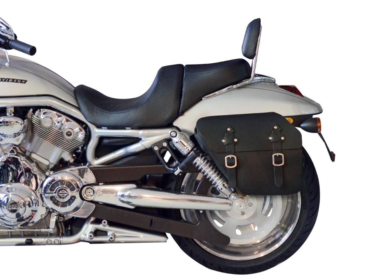 saddlebag 13 liter harley davidson v rod black leather. Black Bedroom Furniture Sets. Home Design Ideas