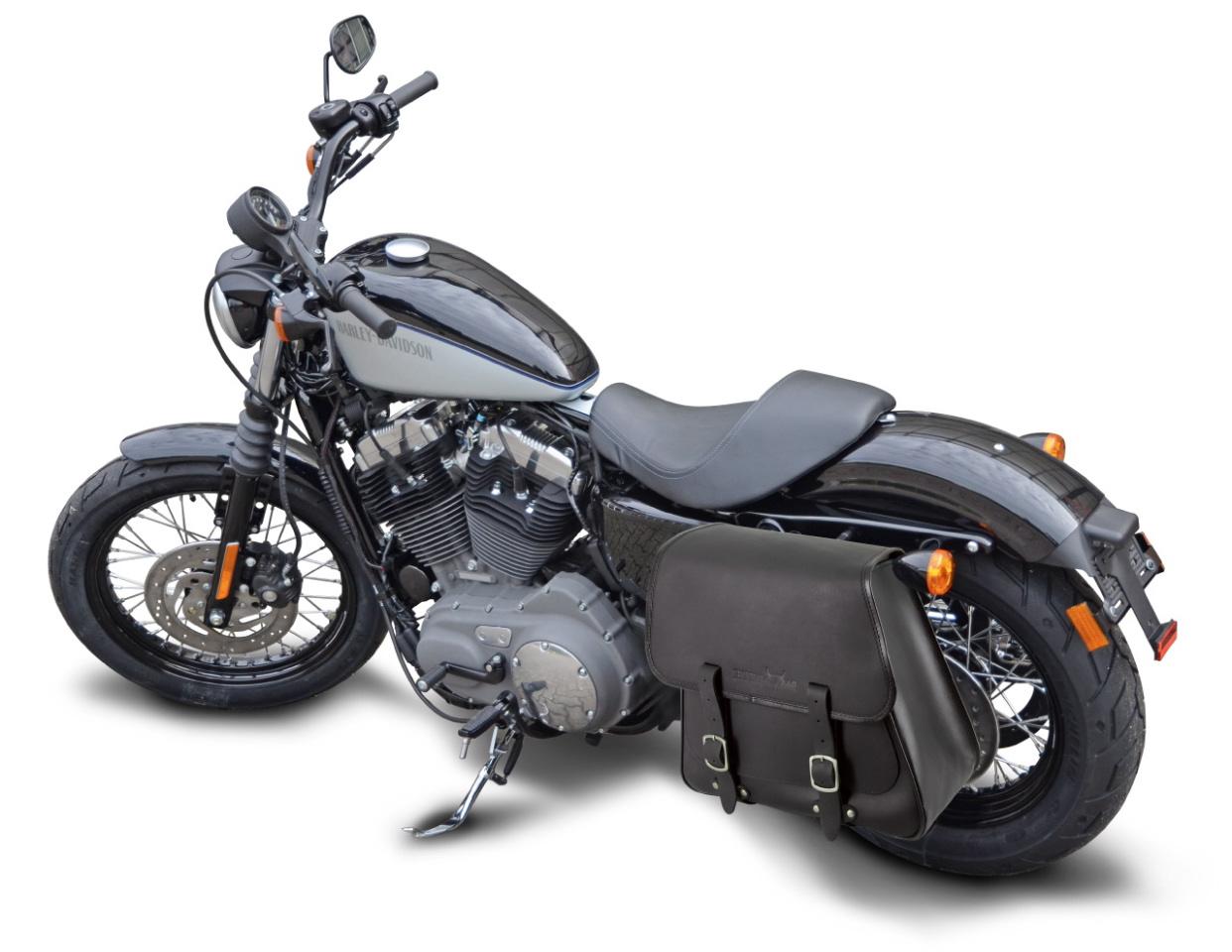 harley davidson 28 liter saddlebag sportster black leather. Black Bedroom Furniture Sets. Home Design Ideas
